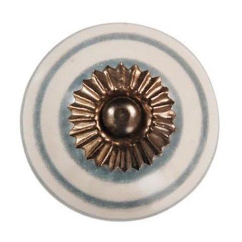 La Finesse kastknopje wit met grijze strepen