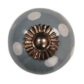 La Finesse La Finesse kastknopje grijs met witte stippen
