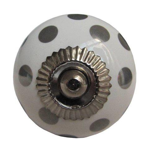 La Finesse kastknopje wit met zilveren stippen