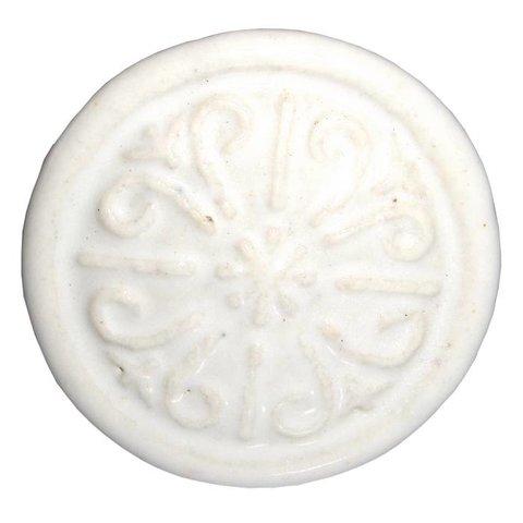 Deurknop porselein relief wit