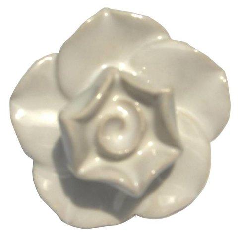 Deurknop porselein roos wit