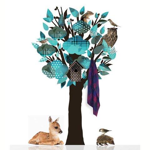 KEK Amsterdam kapstok muursticker beestenboel boom turquoise