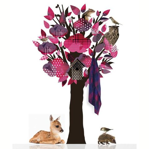 KEK Amsterdam kapstok muursticker beestenboel boom roze