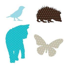 KEK Amsterdam KEK muursticker fabric friends poes en egel blauw