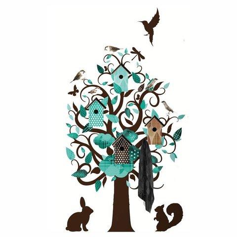 KEK Amsterdam kapstok muursticker villa vogel boom turquoise