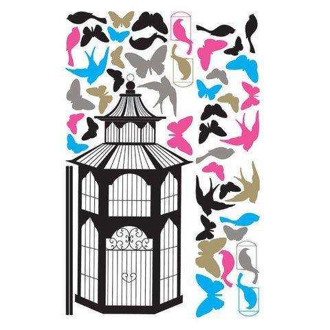 Roommates muursticker vogelkooi met vogels en vlinders