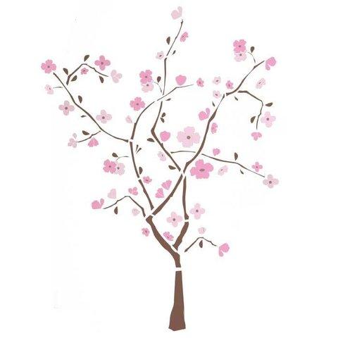 Roommates muursticker boom met roze bloemen