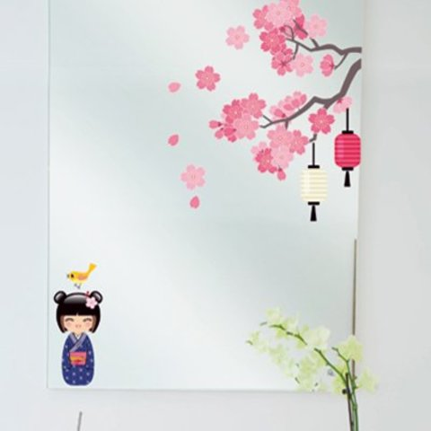 Nouvelles Images raamsticker bloesem en geisha
