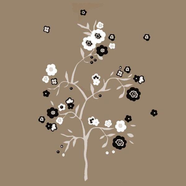 Nouvelles Images Nouvelles Images muursticker boom met bloemen grijs, zwart en wit