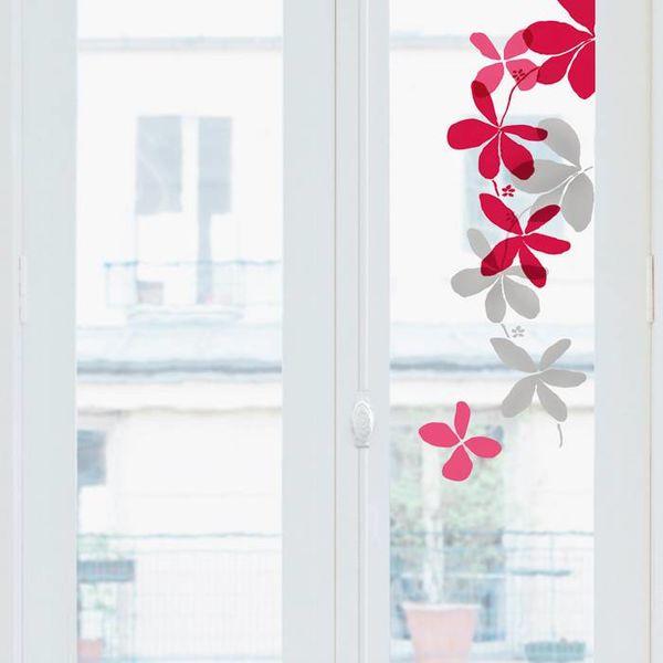 Nouvelles Images Nouvelles Images raamstickers bloemen rood, roze en grijs