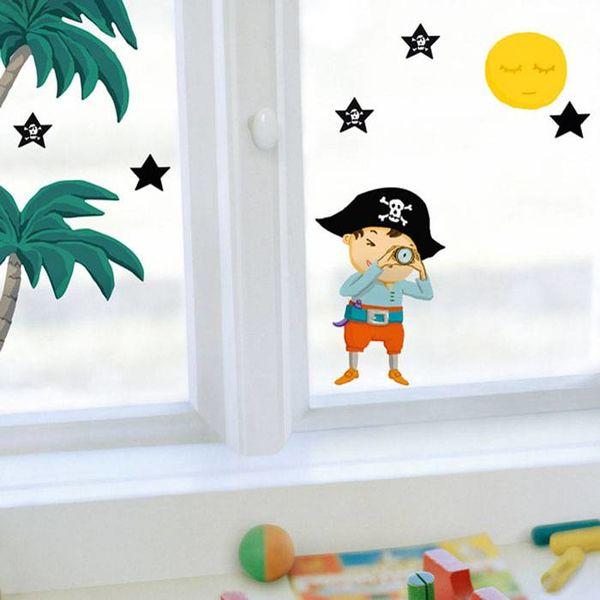 Nouvelles Images Nouvelles Images raamsticker piraten en palmen
