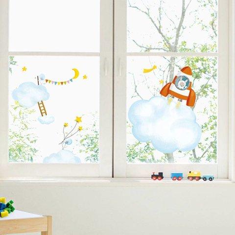 Nouvelles Images raamsticker babykamer XL in de wolken