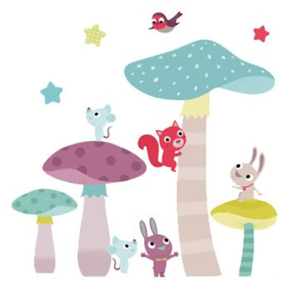 Nouvelles Images Nouvelles Images muurstickers babykamer paddenstoelen
