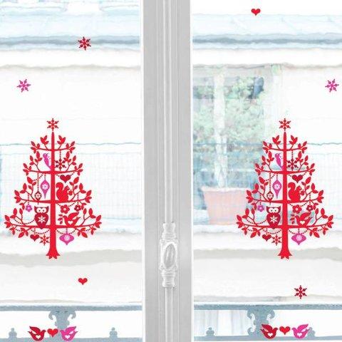 Nouvelles Images raamstickers kerst boom met uil en eekhoorn  rood