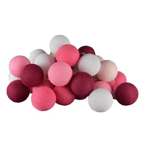 Cotton ball lights lichtslinger roze USB
