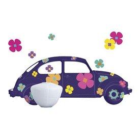 Nouvelles Images Nouvelles Images muursticker auto met bloemen