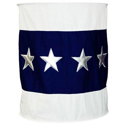 Taftan kinderlamp donkerblauw silver stars