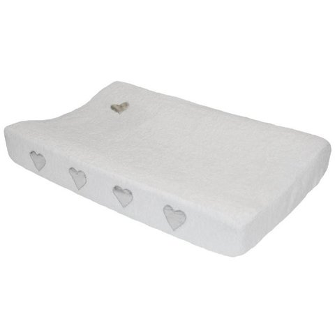 Taftan verschoonkussenhoes badstof wit met zilveren hartjes
