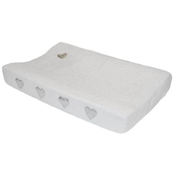 Taftan Taftan verschoonkussenhoes badstof wit met zilveren hartjes