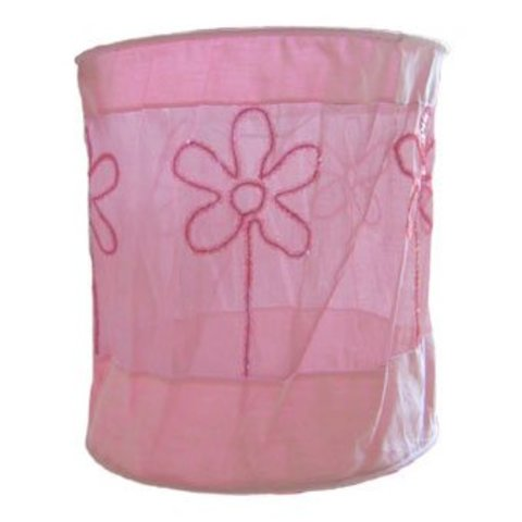 Taftan kinderlamp kraaltjes bloemen roze