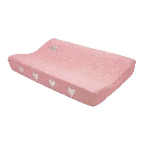 Taftan verschoonkussenhoes badstof roze met zilveren hartjes