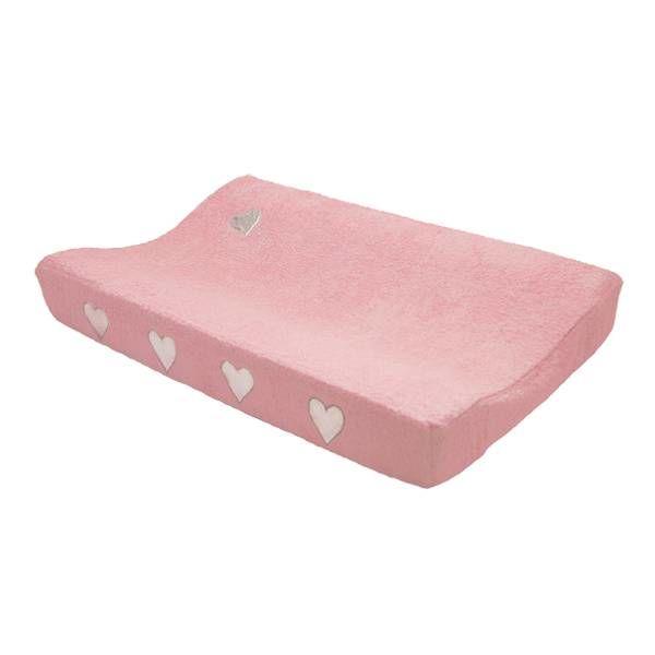 Taftan Taftan verschoonkussenhoes badstof roze met zilveren hartjes