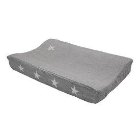 Taftan Taftan verschoonkussenhoes badstof grijs met zilveren sterren