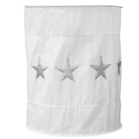 Taftan kinderlamp wit silver stars