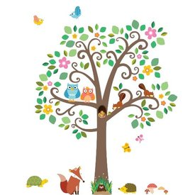 Decowall Decowall muursticker boom scroll tree met dieren