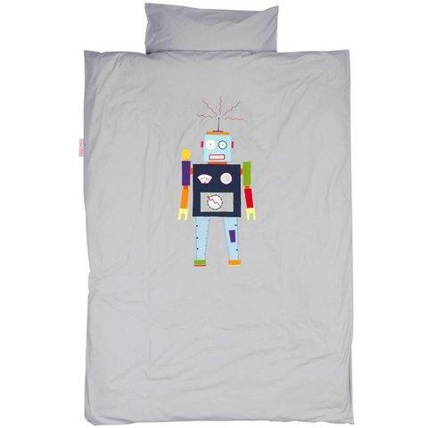 Taftan dekbedovertrek robot grijs