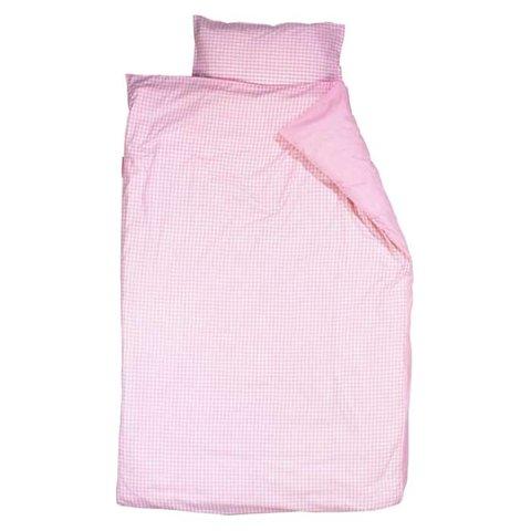 Taftan beddengoed ruitjes roze