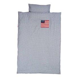 Taftan Taftan beddengoed ruitjes donkerblauw Amerikaanse vlag