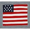 Taftan beddengoed ruitjes donkerblauw Amerikaanse vlag