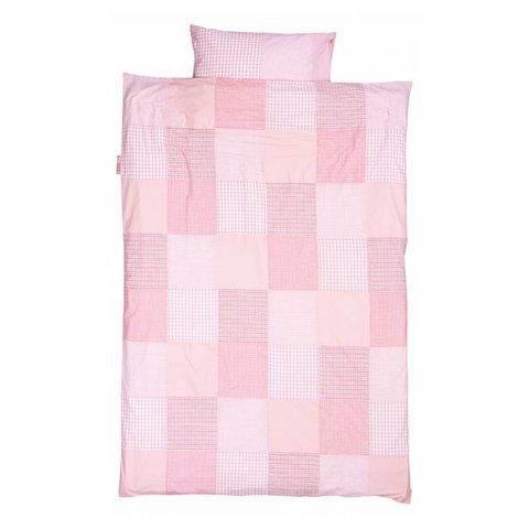 Taftan beddengoed ruit patch roze