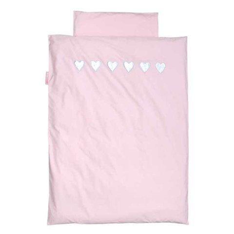 Taftan beddengoed roze met zilveren hartjes