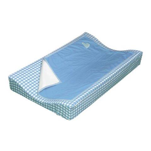 Taftan verschoonkussen hoes met dekentje blauw