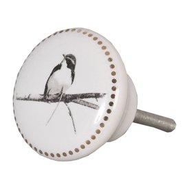 Clayre & Eef Deurknopje vogel met gouden rand