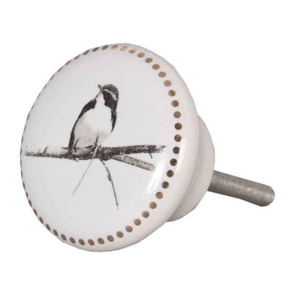 Clayre & Eef Clayre & Eef deurknopje vogel met gouden rand
