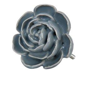 Clayre & Eef Deurknopje bloem groot grijs