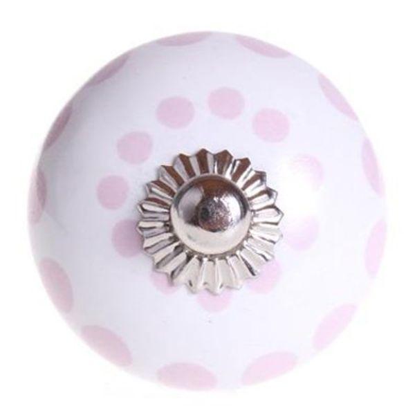 La Finesse La Finesse kastknopje wit met roze stippen
