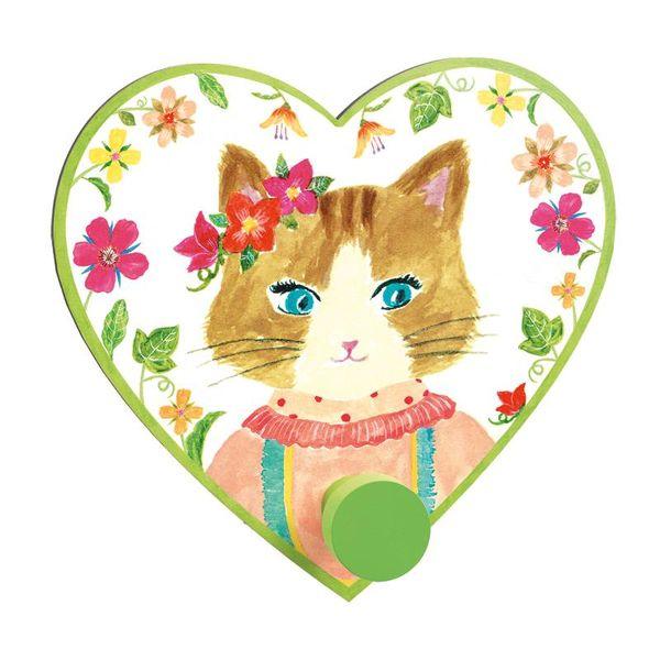 Djeco Djeco kinderkapstokje hartje Miss Cat