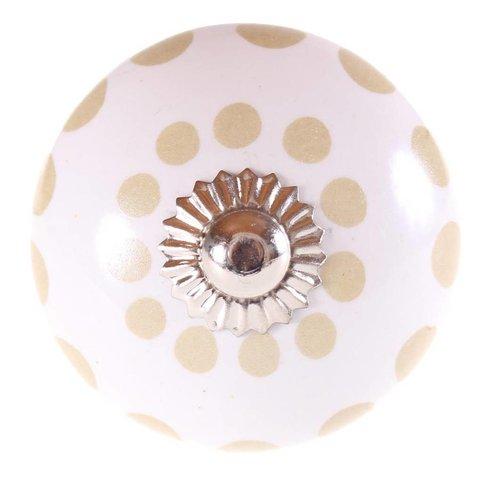 La Finesse kastknopje wit met mat gouden stippen