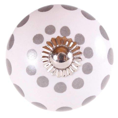 La Finesse kastknopje wit met zilver grijze stippen