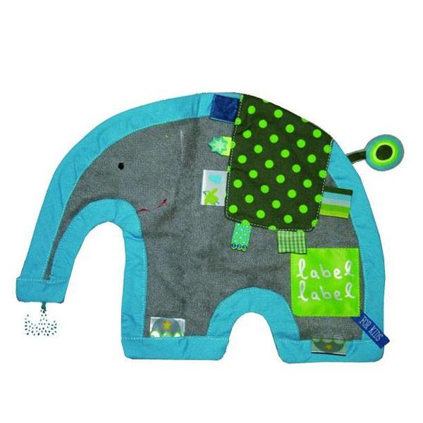 Label Label Label Label knuffeldoekje olifant grijs