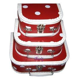 Speelgoedkoffer polkadots rood