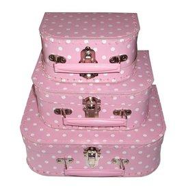 Speelgoedkoffertje stip roze