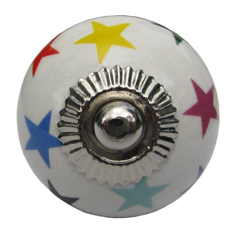 La Finesse kastknopje wit met regenboog sterren