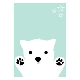Land of Kids Kinderposter A3 hondje blue dog