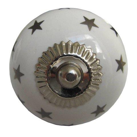 La Finesse kastknopje wit met zilveren sterren