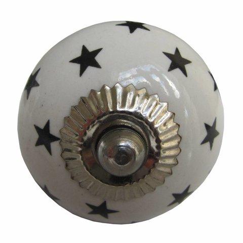 La Finesse kastknopje wit met zwarte sterren